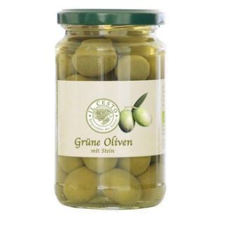 Oliven Grüne Oliven mit Stein,in Lake