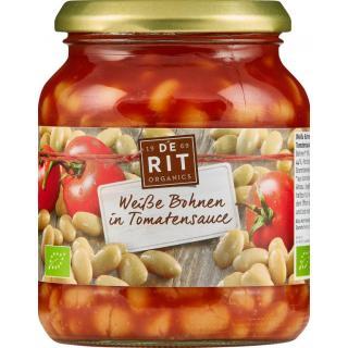 Weiße Bohnen in Tomatensauce im Glas